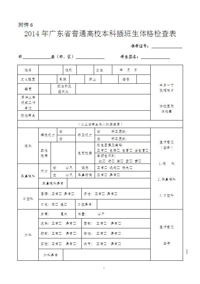 2014广东本科插班生_2014年广东省专插本考试体检表下载(新)